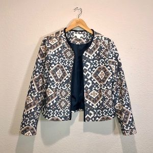 H&M Geometric-Print Green & Tan Lightweight Blazer